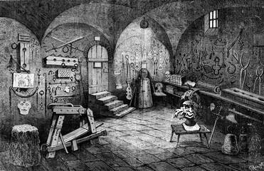 Nuremberg. Instruments of torture, vintage engraving.