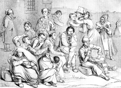 The Madhouse, vintage engraving.