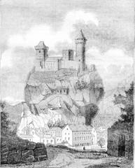 The Chateau de Foix, the department of Ariege, vintage engraving