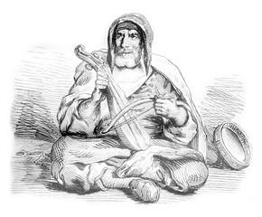 Jewish musician, costume Mogador in Morocco, vintage engraving.