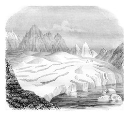 The Aletsch glacier, lake Merrill, vintage engraving.
