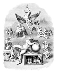 The dream of human life, vintage engraving.