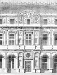 Pierre Lescot, Jean Goujon i Paul Ponce, vintage engraving. - 125660634