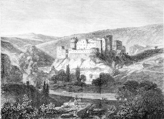 View of the ruins of the Rock on the Ourthe, vintage engraving.