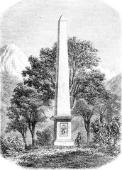 Despourrins high monument in the valley of Aspe, vintage engravi