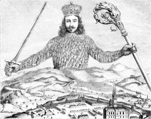Print the seventeenth century, Leviathan Hobbes, vintage engravi