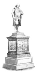 Franklin statue in Boston, vintage engraving.