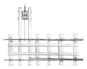 Needles simple horizontal plane, vintage engraving.