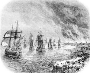 June 1667, The Dutch fleet Sheerness fire in the Thames, vintage