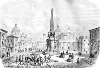 The Fountain of the Elephant, Catania, vintage engraving.