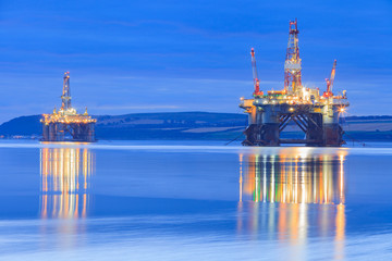 Wall Mural - Semi Submersible Oil Rig during Sunrise at Cromarty Firth
