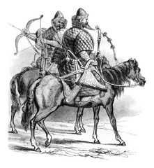 Muscovite riders in the sixteenth century, vintage engraving.