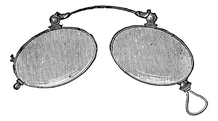 Glasses - ordinary nose clip, vintage engraving.