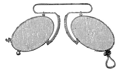 Glasses - a nose clip spacing mobile, vintage engraving.