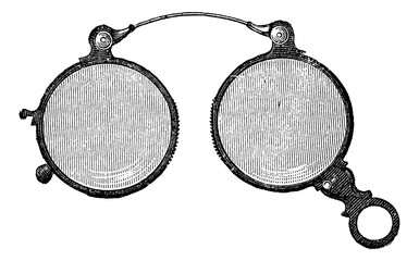 Nose clips has round glasses, vintage engraving.