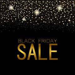 eps 10 vector Black friday night sell-out poster. Sale and discount advertising banner for web, print. Luxury stylish golden glitter, shiny falling stars