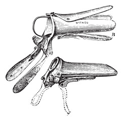 Duckbill Speculum, vintage engraving.