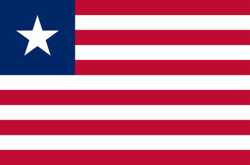 eps 10 vector Liberia flag. Liberian flat style flag with stripes and star emblem