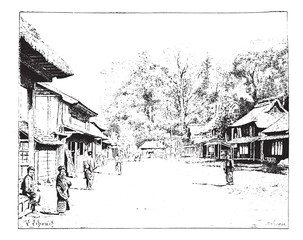 A street view of Yedo, Japan, vintage engraving.