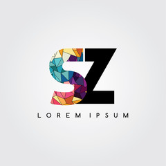 letter initial logotype logo abstract colorful geometrical