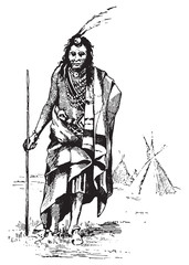 Red Indian, vintage engraving.
