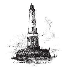 Lighthouse of Cordouan, vintage engraving.