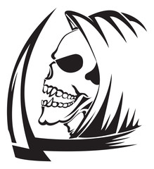 Tattoo of a grim reaper with scythe, vintage engraving.