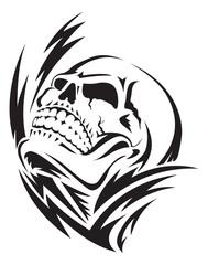 Human skull tattoo, vintage engraving.
