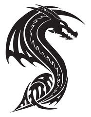 Flying dragon tattoo, vintage engraving.
