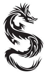 Dragon tattoo, vintage engraving.