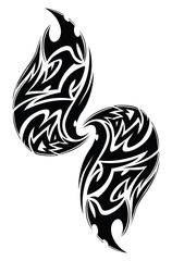 Abstract tribal tattoo, vintage engraving.