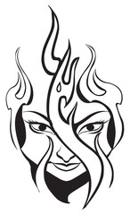 Tattoo design of flame on woman's face, vintage engraving.