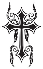 Tattoo design of christian cross, vintage engraving.