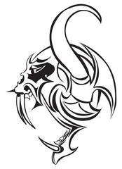 Tattoo design of a monster, vintage engraving.