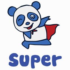 Super panda for t-shirt design