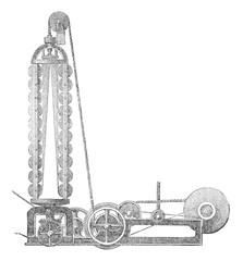 A stranding machine, vintage engraving.