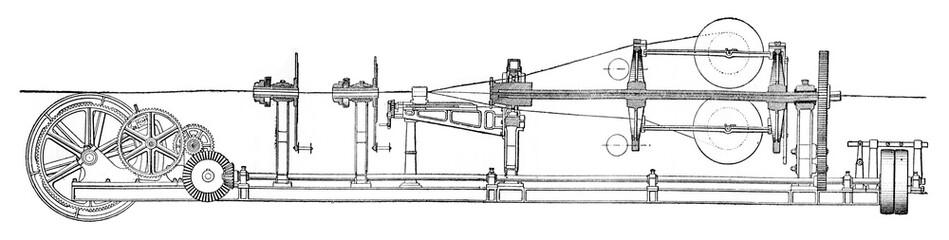 Stranding machine, vintage engraving.