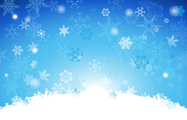 White And Gradient Light Blue Christmas background with snowflak