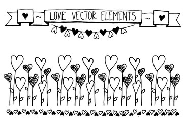 Hand Drawn vector vintage illustration - Doodle sketch hearts elements. Card with the contours of the doodle hearts. Valentine's day greeting cards.