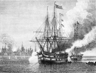 Solovetsky bombing by the Anglo-French fleet in 1854, vintage en