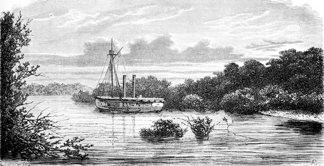 The gunboat Culverin, vintage engraving.
