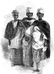 Senegalese women, vintage engraving.