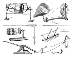 Agricultural and textile utensils in Laos, vintage engraving.