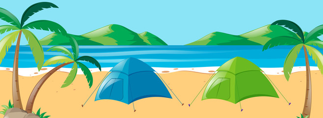 Scene with two tents on the beach