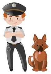 Policeman and brown dog