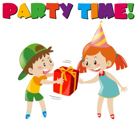 Party scene with boy giving gift to girl