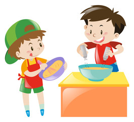 Two boys cooking and baking
