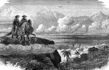 The valley of Medellin, vintage engraving.