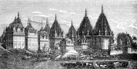 The necropolis of Jhansie Rajahs, vintage engraving.