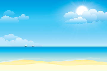 Sky and sea. Vector illustration